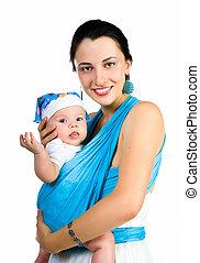 bébé, porter, elle, fronde, mère