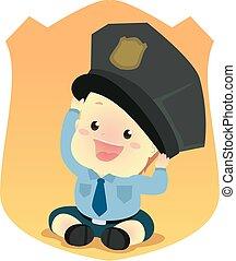 bébé, porter, police uniforme