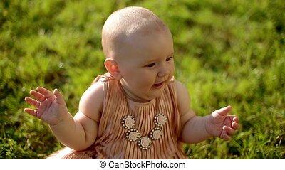 bébé, portrait, girl, herbe, séance