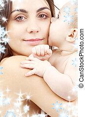bébé, portrait, heureux, mère