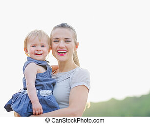 bébé, portrait, sourire, maman