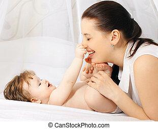 bébé, positif, maman