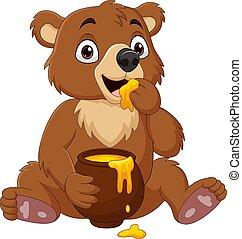 bébé, pot, séance, manger, ours, dessin animé, miel