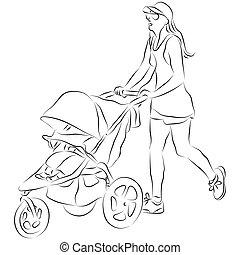 bébé, poussée poussette, maman