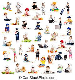 bébé, professions, gosses, jeu, enfants
