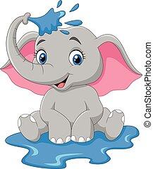 bébé, pulvérisation, dessin animé, éléphant