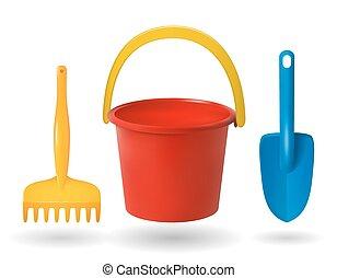 bébé, râteau, coloré, objets, arrière-plan., vecteur, seau, jouets, illustrations, sandbox., blanc, scapula.