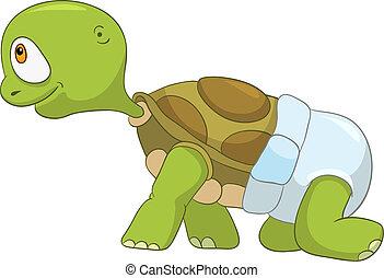 bébé, rigolote, étape, turtle., premier
