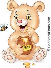 bébé, rigolote, dessin animé, ours