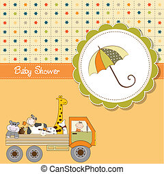 bébé, rigolote, douche, dessin animé, carte