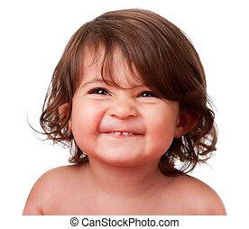 bébé, rigolote, enfantqui commence à marcher, visage heureux