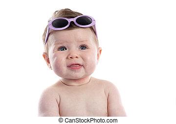 bébé, rigolote, girl, lunettes soleil