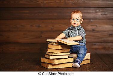bébé, rigolote, livres, lunettes