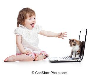 bébé, rigolote, ordinateur portable, enfant, chat