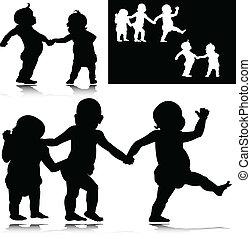 bébé, rigolote, silhouettes, vecteur