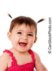 bébé, rire, heureux