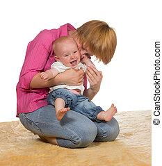 bébé, rire, mère