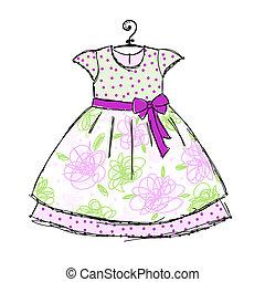 bébé, robe, cintres, conception, ton