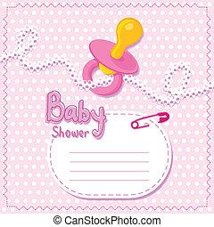 bébé, rose, shower., carte, gabarit