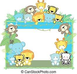 bébé, safari, cadre