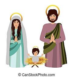 bébé, s'agenouiller, sacré, famille, jésus