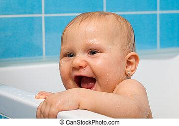 bébé, salle bains, heureux