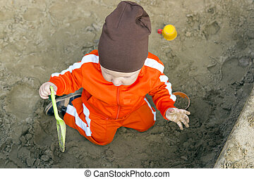 bébé, sandbox, jouer
