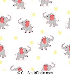 bébé, seamless, texture, éléphant
