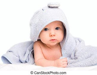 bébé, serviette, bain