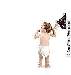 bébé, sien, aide, isolé, promenade, grand, mère, couche, apprentissage, copy-space, message, ton