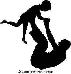 bébé, sien, père, jouer, fils