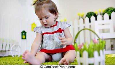bébé, sien, salle, berceau, jouer
