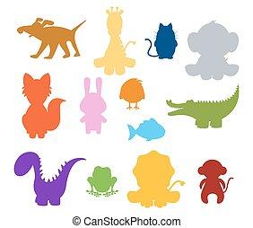 bébé, silhouette, animaux