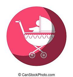 bébé, silhouette, charrette, icône