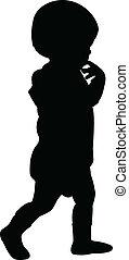 bébé, silhouette