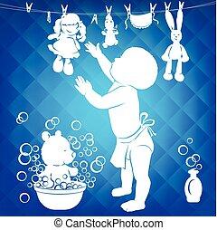 bébé, silhouette, essuie, jouets