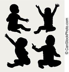 bébé, silhouette, heureux