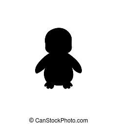 bébé, silhouette, oiseau, animal, manchots
