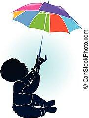 bébé, silhouette, parapluie, coloré