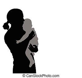 bébé, silhouette, tenue, mère