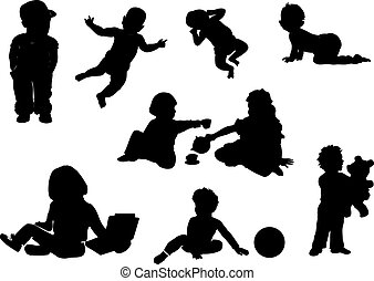 bébé, silhouettes, collection