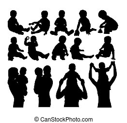 bébé, silhouettes, heureux, gosse