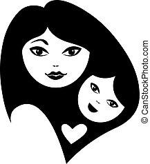 bébé, silhouettes, mère