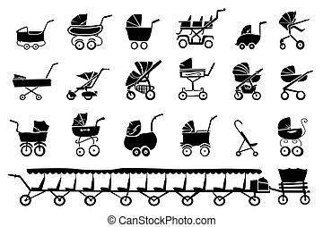 bébé, silhouettes, promeneurs