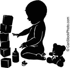 bébé, silhouettes, toys.