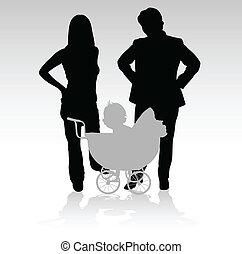 bébé, silhouettes, vecteur, famille