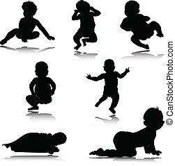 bébé, silhouettes, vecteur