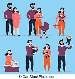 bébé, situations, différent, famille, heureux