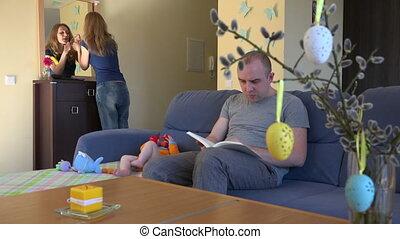 bébé, sofa, père