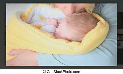 bébé, soin prenant, elle, mère
